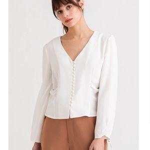 Petite Studio NY Harper Victorian button up blouse